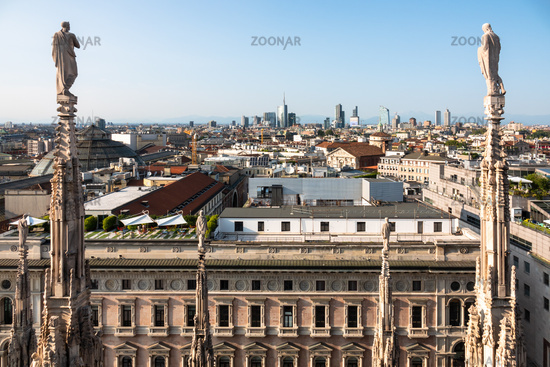 aerial view over Milan Italy