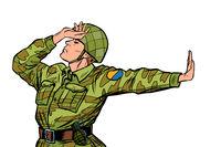 soldier in uniform shame denial gesture no. anti militarism pacifist