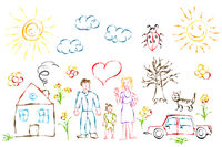 Cute colorful child's hand drawn objects like family, flowers, house, grass, tree, sun and cat on white