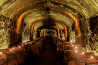 Napa, California - April 27, 2019: Del Dotto Historic Winery Caves in Napa Valley.