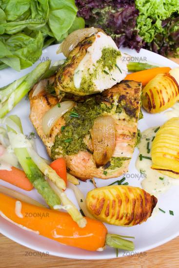 Turkey breast with herb-bear's garlic filling
