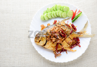 Deep Fried White Pomfret With Black Pepper Garlic
