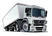 Cartoon cargo semi truck isolated on white background