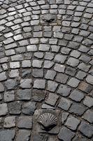 Muschelsymbole für den Jakobsweg im Kopfsteinpflaster aus Basalt-Steinen vor der Matthiassäule