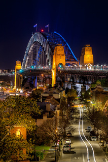 Views down the road towards Sydney Harbour Bridge at night