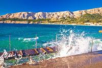 Baska. Island of Krk with waves breaking on coast in town of Baska