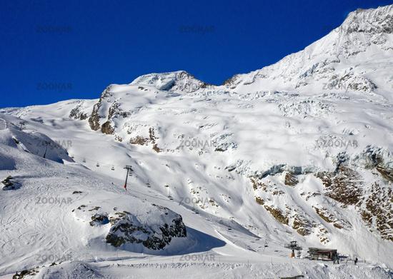 Skiing area Laengfluh, aerial shot, Saas-Fee, Valais, Switzerland