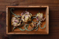 Dried Artichokes and leaves in a small wooden box