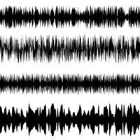 Black Sound Waves Set. Screen of Equalizer. Musical Vibration Graph. Radio Wave Amplitude