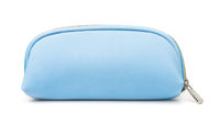 Front view of blue cosmetic bag