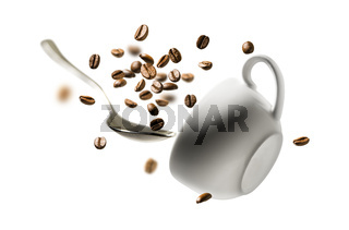 Coffee beans spoon and Cup in flight