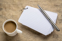 blank index cards with coffee