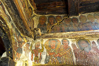 Paintings of biblical scenes, rock-hewn church Petros and Paulos Melehayzengi, Ethiopia