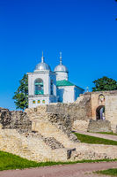 Fortress Izborsk. Old fortress in Russia. Pskov region, Russia, August 15, 2017