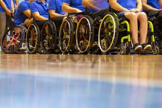 Wheelchairs basketball players