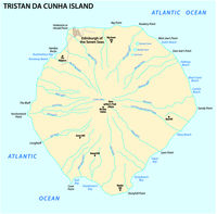 Map Tristan da Cunha Island in the Atlantic Ocean British Overseas Territory