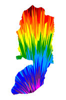 West Bank - map is designed rainbow abstract colorful pattern, West Bank map made of color explosion,