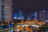 Chengdu Anshun bridge and Jingjiang river at night