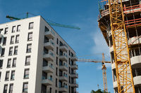 Berlin, Germany, New residential buildings and construction site in Friedrichshain