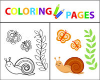 Coloring book page for kids. Snail plant and butterfly. Sketch outline and color version. Childrens education. Vector illustration.