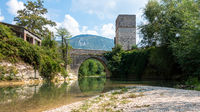 old stone bridge at Frasassi Marche Italy