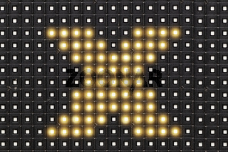 Dots matrix led diplay panel with illuminated symbol of  X cross symbol