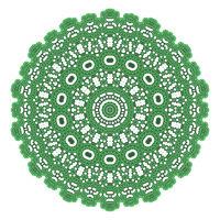 Green Ornamental Pattern. Round Texture. Oriental Geometric Ornament