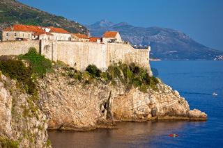 Town of Dubrovnik and strong defence walls view