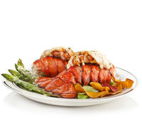 Grilled Lobster Tails Served With Asparagus