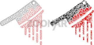 Polygonal Network Mesh Blood Butchery Knife and Mosaic Icon