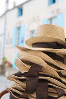 Stacked straw hats in France