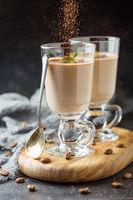 Coffee Panna cotta in glasses.