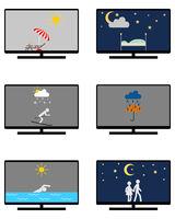 Verschiedene Wettersymbole und Freizeitaktivitäten auf Monitor - Various weathers symbols and leisure activities on monitor