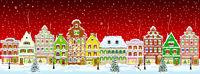 City winter snow night Christmas.eps