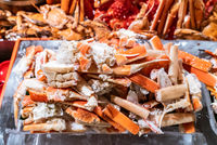 Alaskan King crab seafood on ice