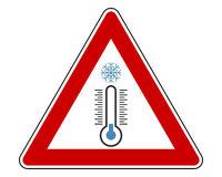 Verkehrsschild Kälte auf weiß - Traffic warning sign cold on white