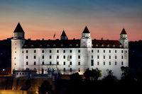 Bratislava Castle Illuminated at Dusk in Slovakia