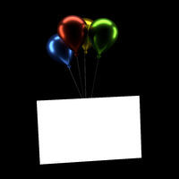 Colorful balloons with a blank card