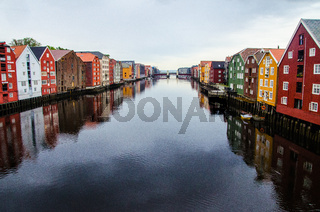 Picturesque houses view from the Gamle Bybro Old Town Bridge in the center of Trondheim