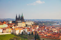 Aerial view of Prague on a sunny day
