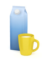 Cup of milk and carton of milk