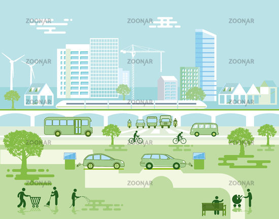 Ecological city with electric vehicles