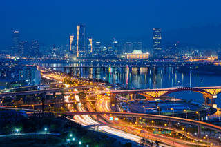 Seoul cityscape in twilight, South Korea.