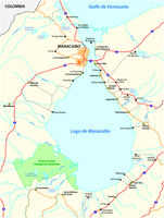 Map of the Venezuelan by sea Maracaibo lake Venezuela