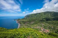 Green coastline of Flores island, Azores, Portugal