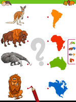 match animals and continents educational game
