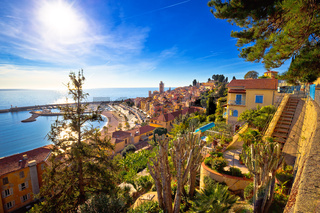 Colorful Cote d Azur town of Menton waterfront architecture view