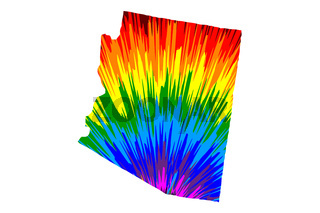 Arizona - map is designed rainbow abstract colorful pattern