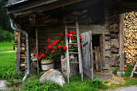 Alpine hut with floral decoration, Zillertal, Austria,