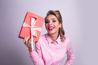 Happy woman with gift